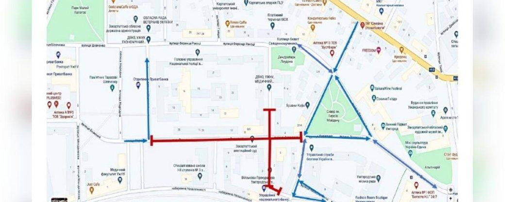 В Ужгороді через антитерористичні навчання СБУ 9 жовтня обмежать рух транспорту